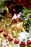 Candle in a xmas tree Royalty Free Stock Images