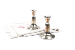 Candleholder and linen Stock Photography