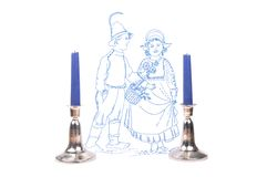 Candleholder and linen. Colorful and crisp image of candleholder and linen stock image