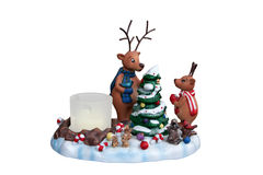 Candleholder with reindeer Royalty Free Stock Images