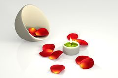Candlelight. Candle with red roses petals over a wite background. This is a 3D rendered picture Stock Images