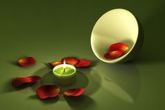 Candlelight. Candle with red roses petals over a green background. This is a 3D rendered picture Royalty Free Stock Photography