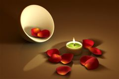 Candlelight. Candle with red roses petals over a brown background. This is a 3D rendered picture Stock Photos