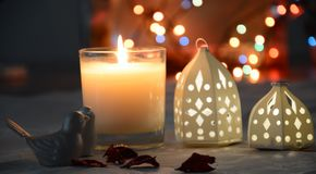 Bokeh candle and heart stock images