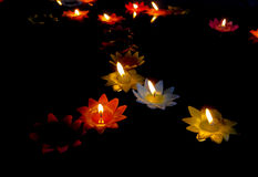 Candlelight Candles flower floating on a water. Royalty Free Stock Photo