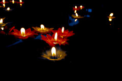 Candlelight Candles flower floating on a water Royalty Free Stock Photography