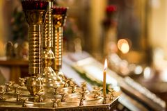 Candlelight in christian church, wedding ceremony, glans, altar, Royalty Free Stock Photos