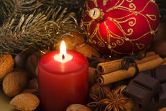 Candlelight with Christmas Decoration Royalty Free Stock Images