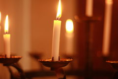 Candlelight. Church candles at a ceremony Stock Photos