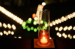 Candlelight. Decorated in the night garden royalty free stock photo