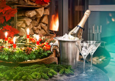 Candlelight dinner. Festive decoration for christmas and new yea Royalty Free Stock Photos