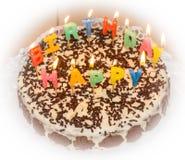 candlelight domowej roboty tort urodzinowy zdjęcie royalty free