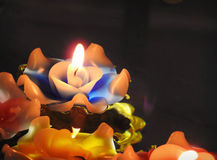 Candlelight flower float on surface water Stock Photos