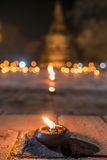 Candlelight Makha Bucha Day at old town Ayutthaya Thailand Stock Image