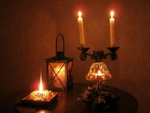 Candlelight. New year, candles are lit in the dark Stock Photo