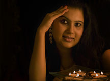 Candlelight Portrait of an Indian Lady Stock Photos