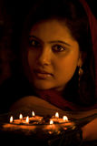 Candlelight Portrait of an Indian Lady Royalty Free Stock Image