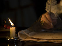 Candlelight &  Quill Royalty Free Stock Images