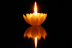 Candlelight and reflection. In dark royalty free stock photos
