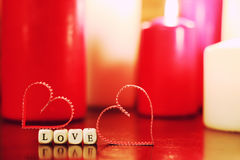 Candlelight set love Stock Photography