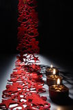 Candlelight on a table decorated beautifully for Christmas Royalty Free Stock Photo