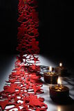 Candlelight on a table decorated beautifully for Christmas Royalty Free Stock Photos