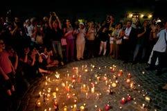 Candlelight walk Royalty Free Stock Image