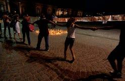 Candlelight walk Royalty Free Stock Photo