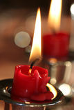 Candlelights. Close up of two candles Royalty Free Stock Photo
