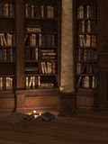 Candlelit library. Interior view of library. Historical or fantasy setting, ancient books, the den of a mage or sorcerer Royalty Free Stock Image