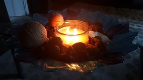Candlelit. Scented candle and relax time Royalty Free Stock Photography