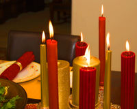 Candlelit table setting for the holidays Stock Image