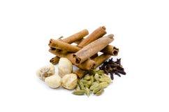 Candlenut,cinnamon,clove,cardomom Royalty Free Stock Image