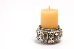 Candles 03. A vanilla candle in an exotic holder Royalty Free Stock Photography