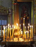 Candles. Burning candles in Christian church Royalty Free Stock Photo