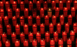 Candles. Lots of candles in a church in Spain Stock Photo