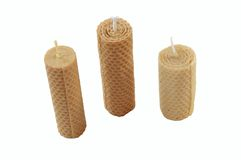 Candles. Three candles made of beewax Royalty Free Stock Photography