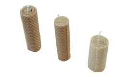 Candles. Three candles made of beeswax Royalty Free Stock Images