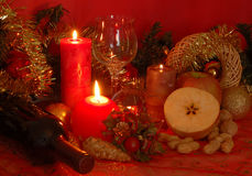 Candles. Red candles in the christmas table Royalty Free Stock Photo