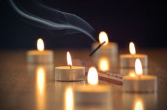 Candles. Still life with candles and incense stick Royalty Free Stock Photography