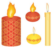Candles. Various lit candles, on white background isolated stock illustration