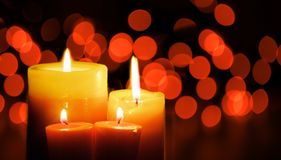 Candles. On a blurred background royalty free stock photo