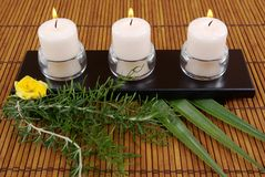 Candles. Herbs,  yellow rose and aromatic candles on bamboo Stock Photography