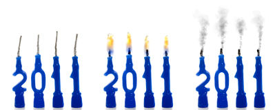 Candles 2011 status. On white background Royalty Free Stock Image