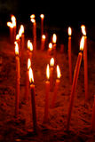 Candles. At the church altar (religion theme Stock Photos