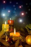 Candles. With christmas balls in atmospheric light Stock Photo