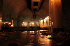 Candles. With flame inside the church, cathedral marseilles, france Stock Photos