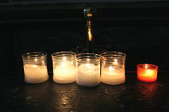 Candles. Lit for the hope and prayer stock photo