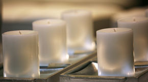 Candles. Soft romantic white candles Royalty Free Stock Photos