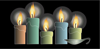 Candles. On the black background-2d illustration royalty free illustration